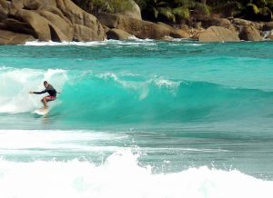 Surfing in Seychelles at Anse intendance